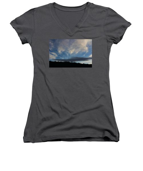 Women's V-Neck T-Shirt (Junior Cut) featuring the photograph Chase The Moonlight by Tammy Espino