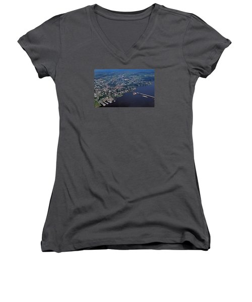 Chestertown Maryland Women's V-Neck T-Shirt (Junior Cut) by Skip Willits