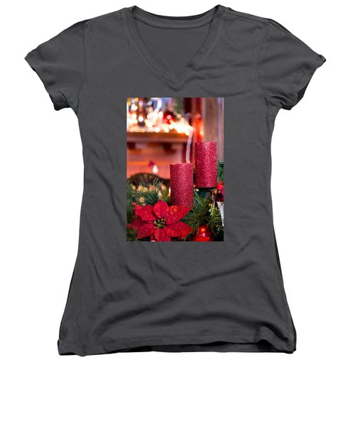 Christmas Candles Women's V-Neck (Athletic Fit)