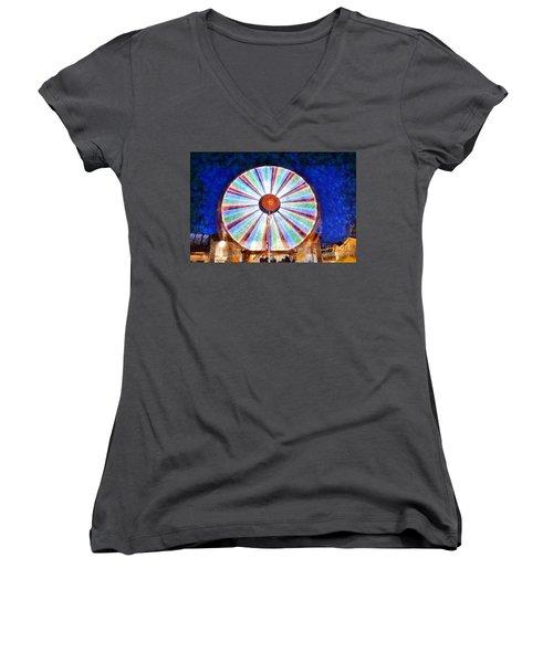 Women's V-Neck T-Shirt (Junior Cut) featuring the painting Christmas Ferris Wheel by George Atsametakis