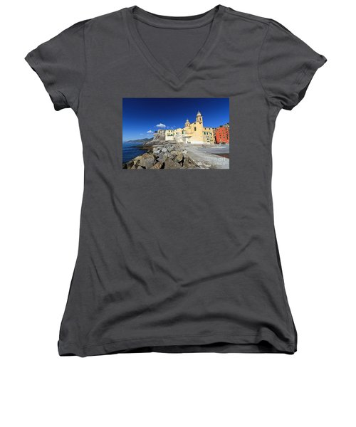Women's V-Neck T-Shirt (Junior Cut) featuring the photograph church in Camogli by Antonio Scarpi