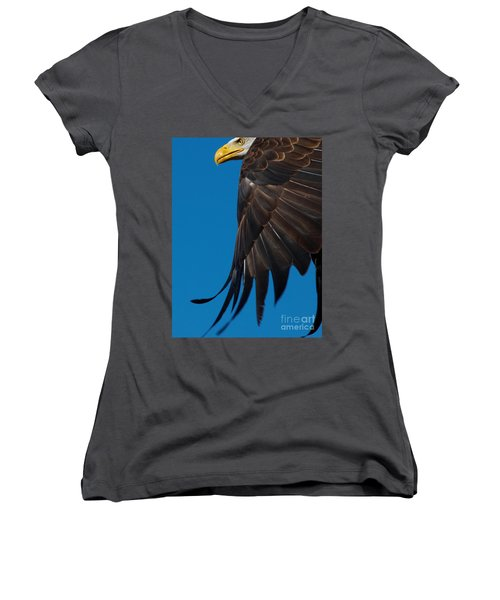 Close-up Of An American Bald Eagle In Flight Women's V-Neck T-Shirt (Junior Cut) by Nick  Biemans
