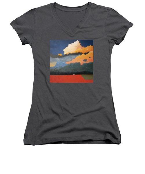 Cloud Rising Women's V-Neck T-Shirt (Junior Cut) by Gary Coleman