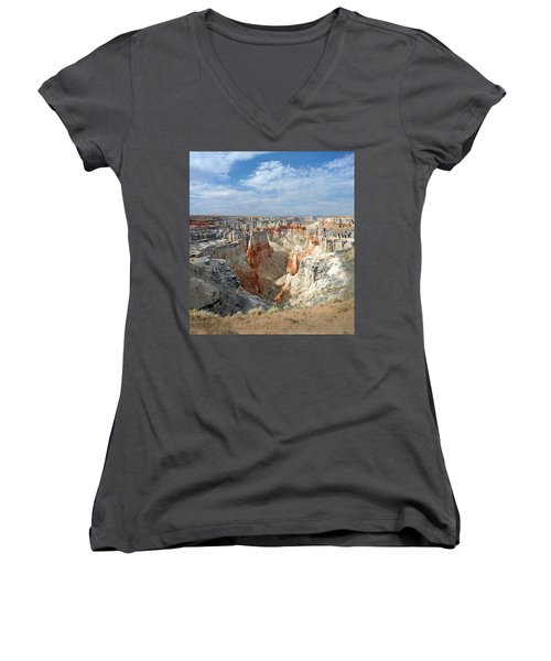 Coal Mine Mesa 14 Women's V-Neck T-Shirt (Junior Cut) by Jeff Brunton