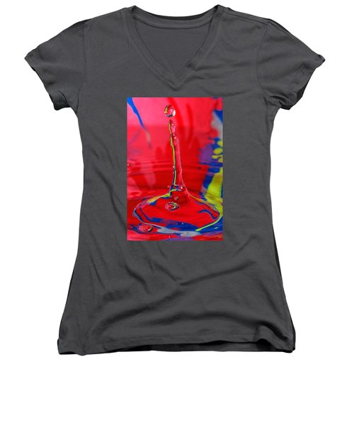 Women's V-Neck T-Shirt (Junior Cut) featuring the photograph Colorful Water Drop by Peter Lakomy