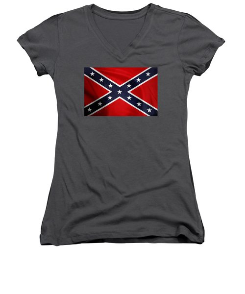 Confederate Flag 5 Women's V-Neck (Athletic Fit)