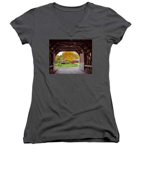 Covered Bridge In Autumn Women's V-Neck (Athletic Fit)