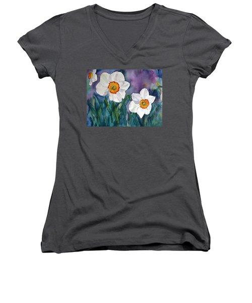 Women's V-Neck T-Shirt (Junior Cut) featuring the painting Daffodil Dream by Anna Ruzsan