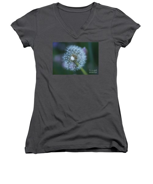 Women's V-Neck T-Shirt (Junior Cut) featuring the photograph Dandelion by Alana Ranney