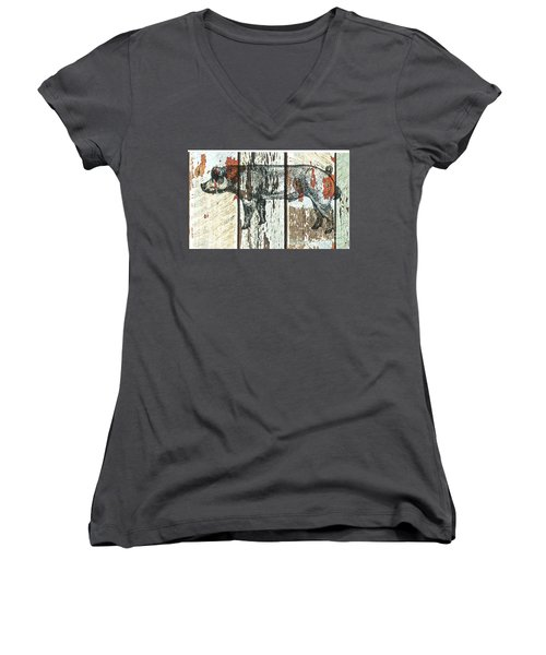 Danish Duroc Boar Women's V-Neck T-Shirt (Junior Cut) by Larry Campbell