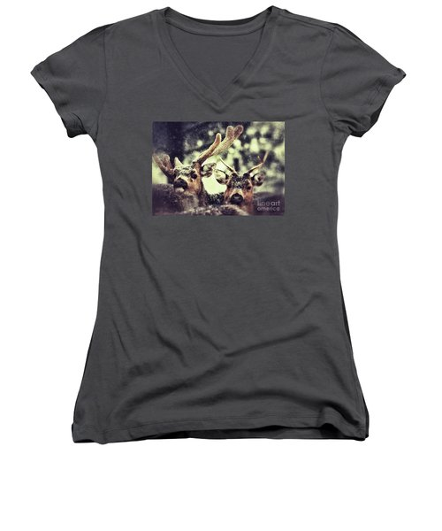 Deer In The Snow Women's V-Neck T-Shirt (Junior Cut) by Nick  Biemans