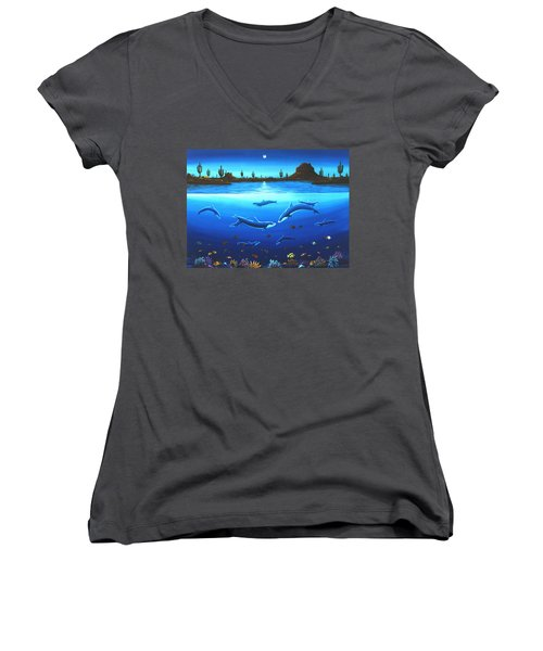 Women's V-Neck T-Shirt (Junior Cut) featuring the painting Desert Dolphins by Lance Headlee