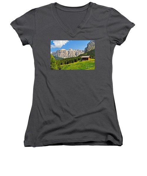 Dolomiti - High Fassa Valley Women's V-Neck T-Shirt (Junior Cut) by Antonio Scarpi