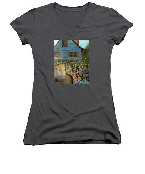 Dream Garden Women's V-Neck T-Shirt (Junior Cut) by Laurie Morgan