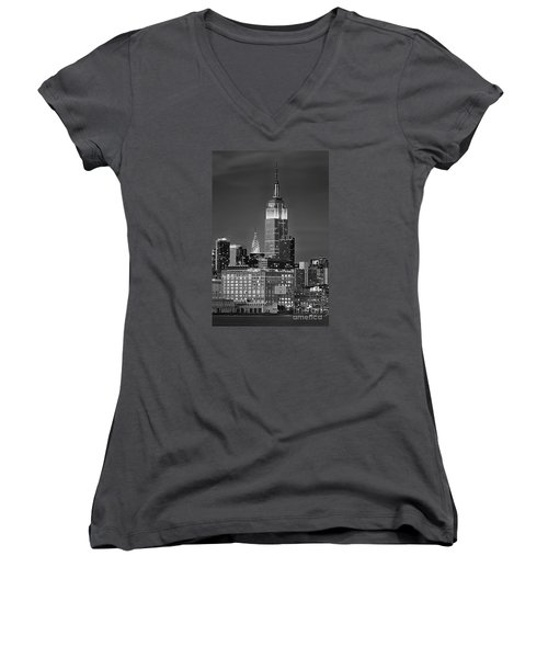 Empire And Chrysler Buildings Women's V-Neck T-Shirt (Junior Cut) by Jerry Fornarotto