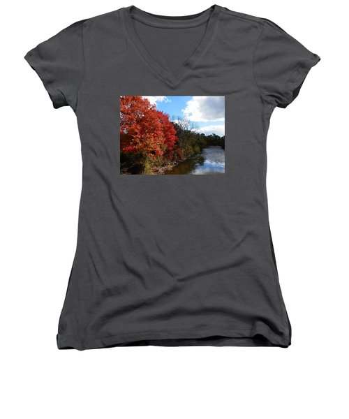 Fall At The Credit River Women's V-Neck (Athletic Fit)