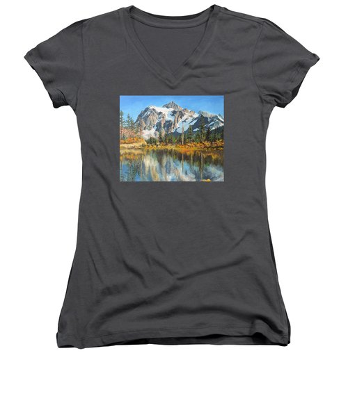 Fall Reflections - Cascade Mountains Women's V-Neck T-Shirt (Junior Cut)