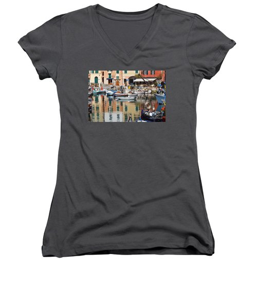 Women's V-Neck T-Shirt (Junior Cut) featuring the photograph fishing boats in Camogli  by Antonio Scarpi
