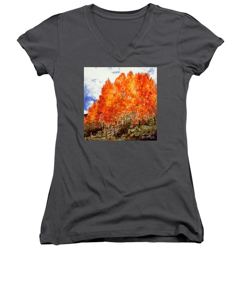 Women's V-Neck T-Shirt (Junior Cut) featuring the painting Flaming Aspens 2 by Barbara Jewell