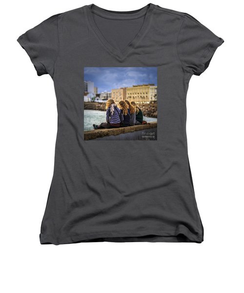 Foreign Students Cadiz Spain Women's V-Neck T-Shirt