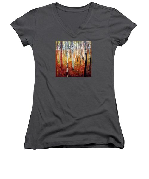 Forest Of Beech Trees Women's V-Neck T-Shirt (Junior Cut) by Gustav Klimt