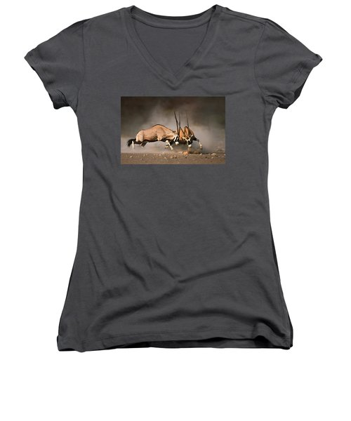 Gemsbok Fight Women's V-Neck T-Shirt (Junior Cut) by Johan Swanepoel