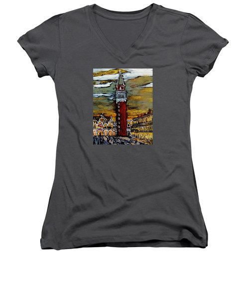 Women's V-Neck T-Shirt (Junior Cut) featuring the painting Golden Venice by Jasna Gopic