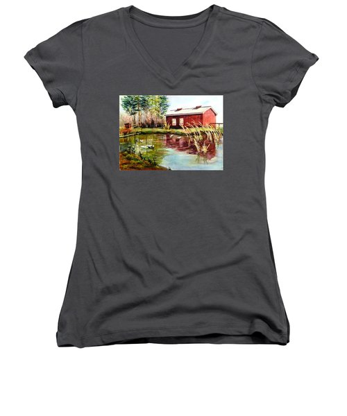 Green Acre Farm Women's V-Neck T-Shirt (Junior Cut) by Betty M M   Wong