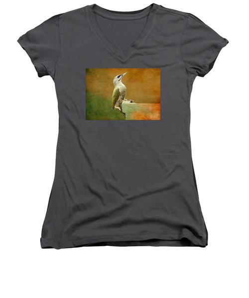 Grey-headed Woodpecker Women's V-Neck T-Shirt (Junior Cut) by Heike Hultsch