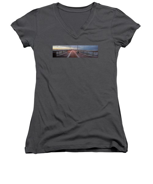 Gulf State Pier Women's V-Neck T-Shirt (Junior Cut) by Michael Thomas