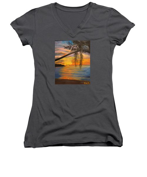 Women's V-Neck T-Shirt (Junior Cut) featuring the painting Hawaiian Sunset 11 by Jenny Lee