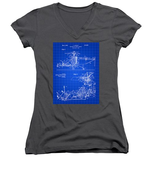 Helicopter Patent 1940 - Blue Women's V-Neck T-Shirt (Junior Cut) by Stephen Younts