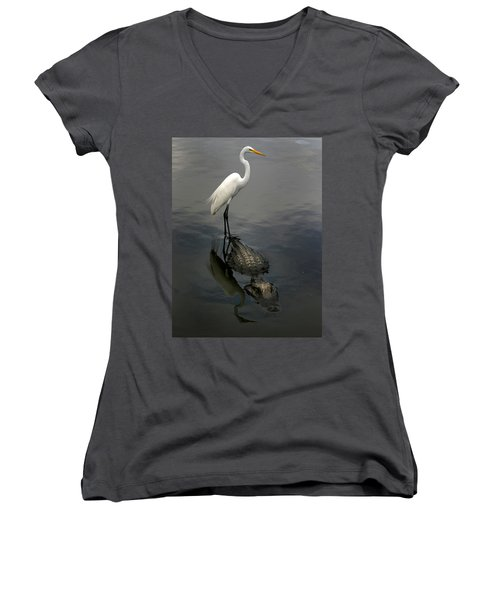 Hitch Hiker Women's V-Neck T-Shirt (Junior Cut) by Anthony Jones