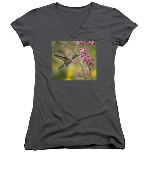 Hummingbird Heaven  Women's V-Neck (Athletic Fit)