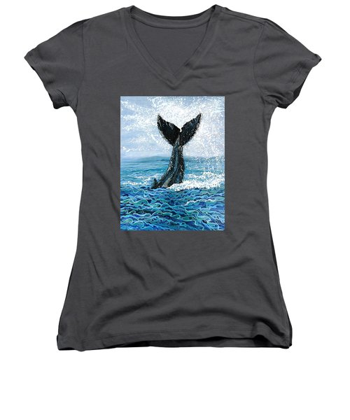 Humpback Flukes Women's V-Neck T-Shirt