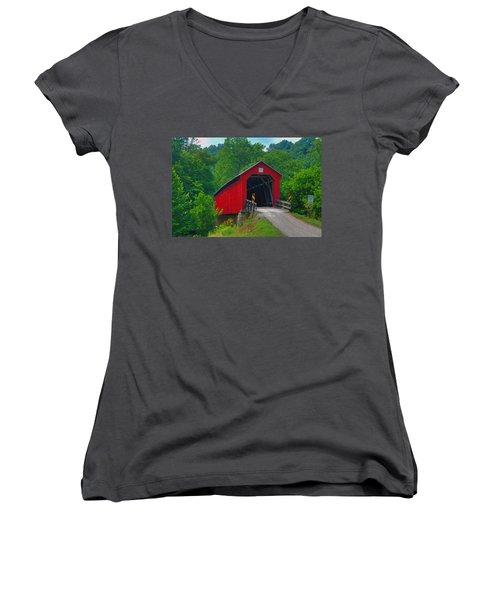 Hune Covered Bridge Women's V-Neck T-Shirt
