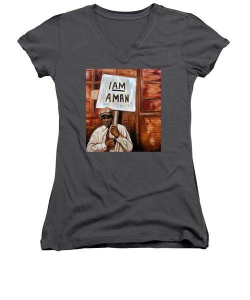 I Am A Man Women's V-Neck (Athletic Fit)