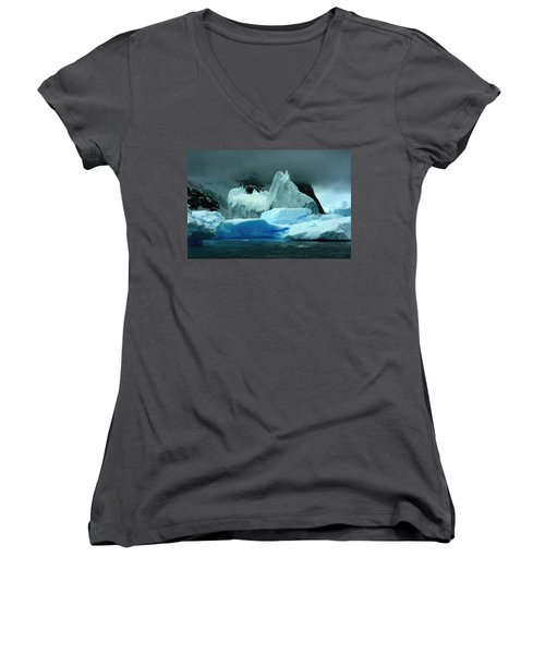 Women's V-Neck T-Shirt (Junior Cut) featuring the photograph Iceberg by Amanda Stadther