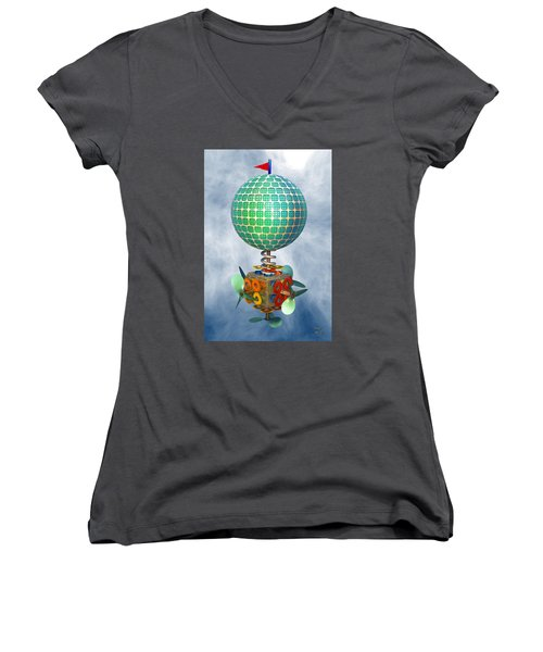 Women's V-Neck T-Shirt (Junior Cut) featuring the digital art Improbability by Manny Lorenzo