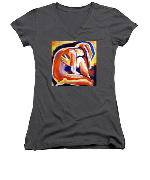 Innerthoughts Women's V-Neck T-Shirt (Junior Cut) by Helena Wierzbicki