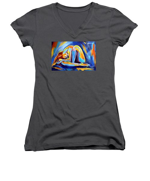 Insomnia Women's V-Neck T-Shirt (Junior Cut) by Helena Wierzbicki