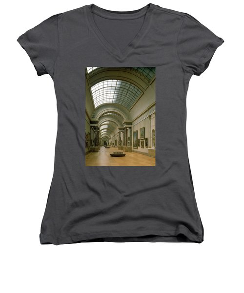 Interior View Of The Grande Galerie, 16th-19th Century Photo Women's V-Neck (Athletic Fit)