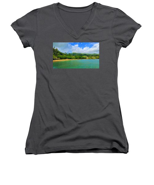 Women's V-Neck T-Shirt (Junior Cut) featuring the painting Island Of Maui by Michael Rucker