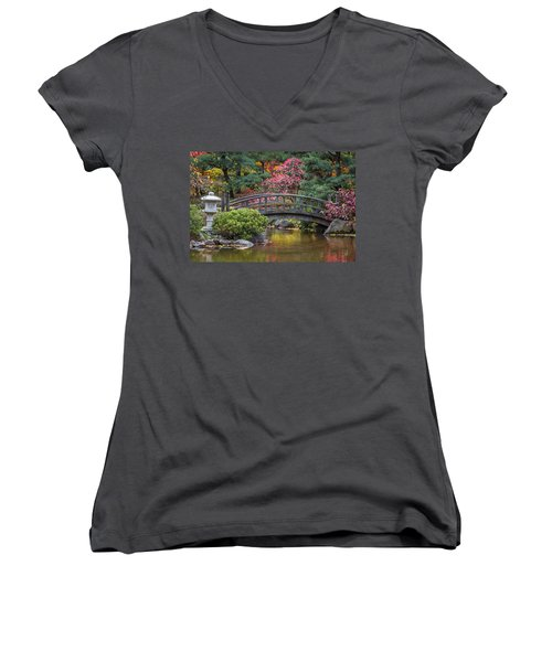 Japanese Bridge Women's V-Neck T-Shirt (Junior Cut) by Sebastian Musial