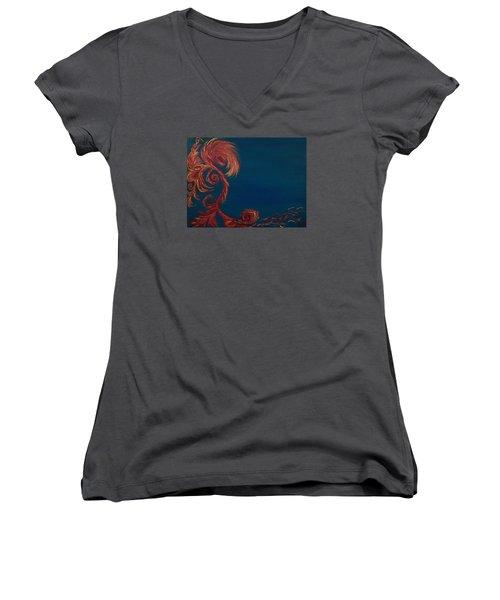 Jumbie Under De' Ocean Women's V-Neck T-Shirt (Junior Cut) by Robert Nickologianis