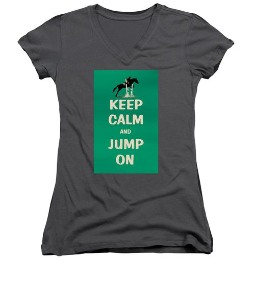 Keep Calm And Jump On Horse Women's V-Neck (Athletic Fit)