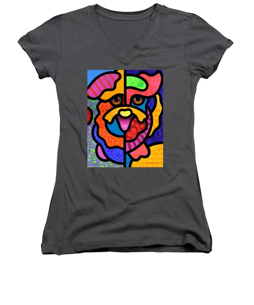 Happy Dog Women's V-Neck (Athletic Fit)