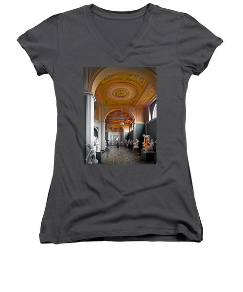 Kopenhavn Carlsberg Glyptotek 08 Women's V-Neck T-Shirt (Junior Cut) by Jeff Brunton