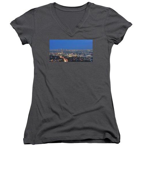 L.a. Skyline Los Angeles Ca Cityscape Night Dusk Lit Lights On 3 Women's V-Neck T-Shirt