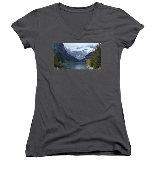 Lake Louise In Fall Women's V-Neck (Athletic Fit)